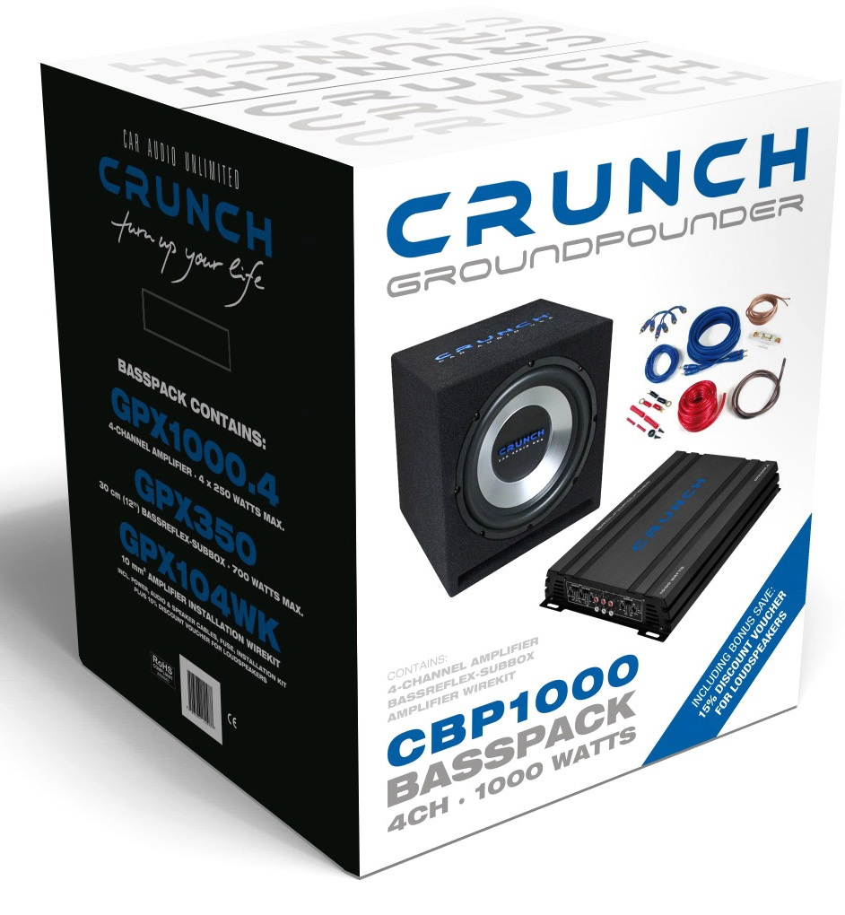 crunch cbp 1000 watt bass paket car hifi anlage hochwertig. Black Bedroom Furniture Sets. Home Design Ideas