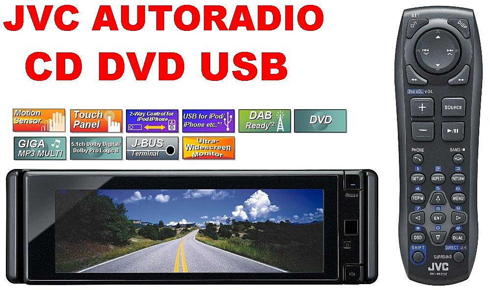 jvc kd avx55 autoradio dvd cd usb lcd touch monitor ebay. Black Bedroom Furniture Sets. Home Design Ideas
