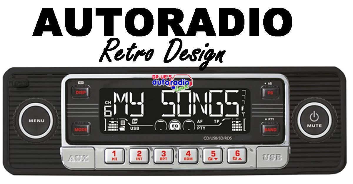 autoradio oldtimer design cd mp3 aux in usb sd mmc retro. Black Bedroom Furniture Sets. Home Design Ideas